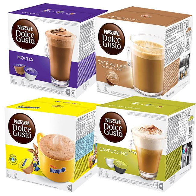 pack gourmand dolce gusto nesquik cappu moka caf au lait. Black Bedroom Furniture Sets. Home Design Ideas