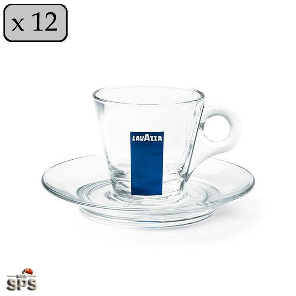 tasses sous tasses en verre lavazza vendues par 12. Black Bedroom Furniture Sets. Home Design Ideas