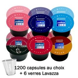 1200 Capsules au choix -24% + 6verres Lavazza OFFERTS