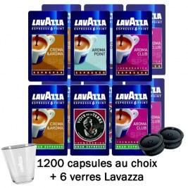 1200 Capsules au choix -20% +6 verres Lavazza OFFERTS