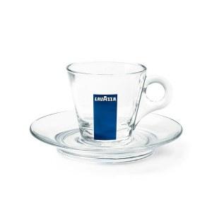 Tasses + sous tasses en verre LAVAZZA vendues par 12 /