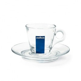 Tasses + sous tasses en verre LAVAZZA vendues par 12 /