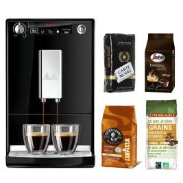 Caffeo Solo Noir + Pack café grain 500grVoix de la terre - 250gr carte noire - 250gr Casa - 250gr Congo