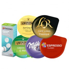 Pack Tassimo Green Tea - Earl Grey - Milka - Espresso ClassicT - Café long Classic- Détartrant tablette