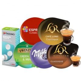 Pack Tassimo : Green Tea - Espresso Classic- Milka - Espresso ClassicT - Café long Classic- Détartrant tablette